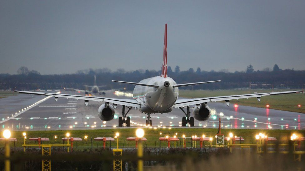Aircraft on runway at Gatwick