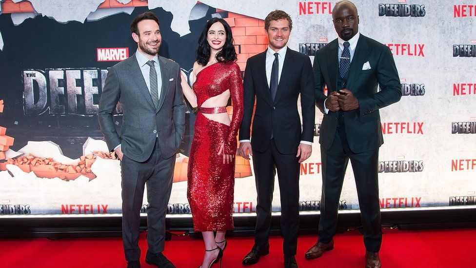 Charlie Cox, Krysten Ritter, Finn Jones and Mike Colter at The Defenders premiere