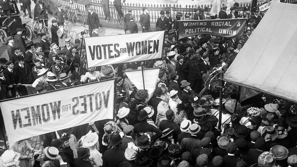 Suffragettes outside the Queen's Hall, central London, 1910