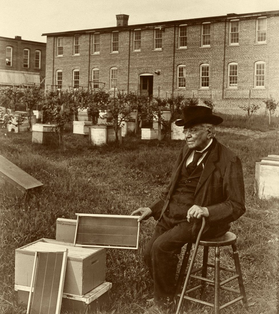 Lorenzo Langstroth pictured with his hive