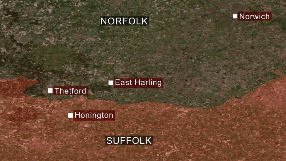 A map showing East Harling