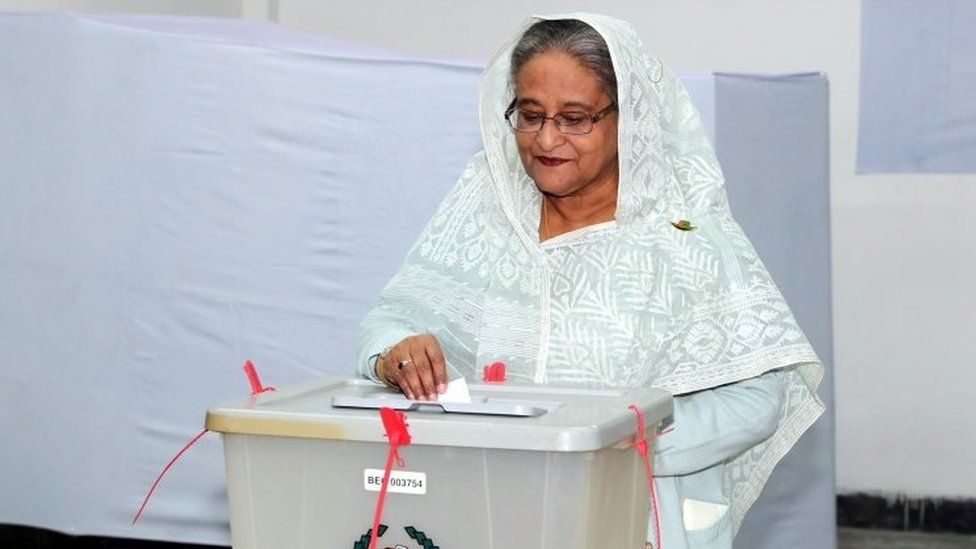 Prime Minister Sheikh Hasina casts her ballot in general elections in December 2018