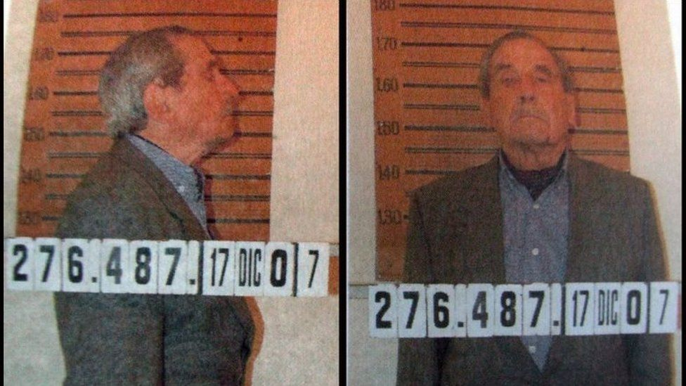 This mugshot taken on December 18, 2007 shows Uruguay's former military dictator, Gregorio Alvarez (1981-1985), who was charged and jailed on 17 December, 2007, pending trial for crimes against humanity for his involvement in the abduction and believed execution of suspected political opponents in 1978, 18 December, 2007