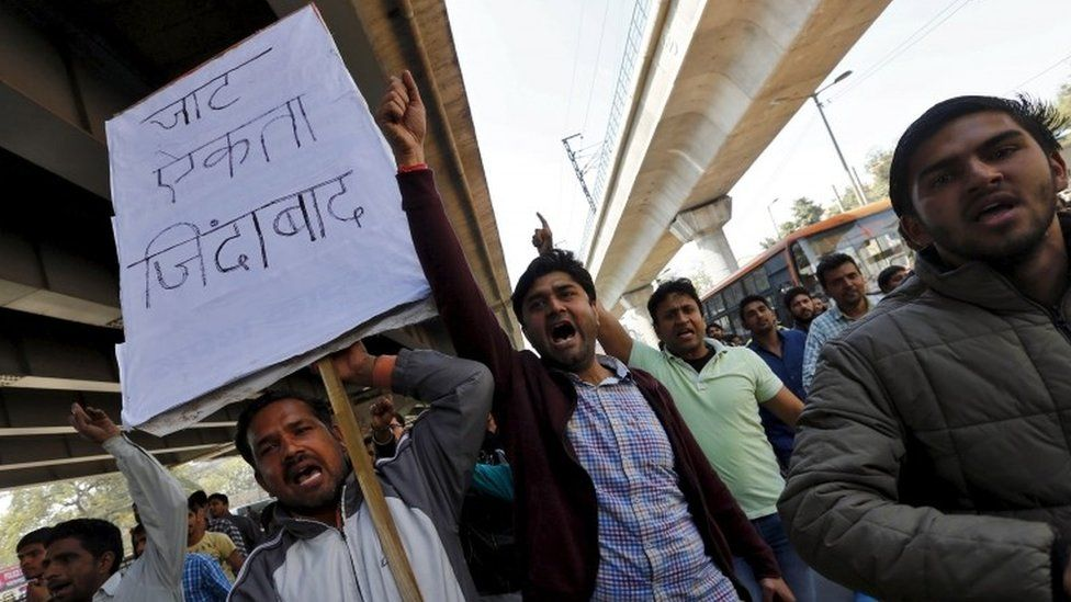 Demonstrators from the Jat community shout slogans during a protest in New Delhi, India, February 21, 2016.