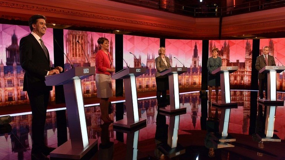 Ed Miliband and other opposition leaders during 2015 debate