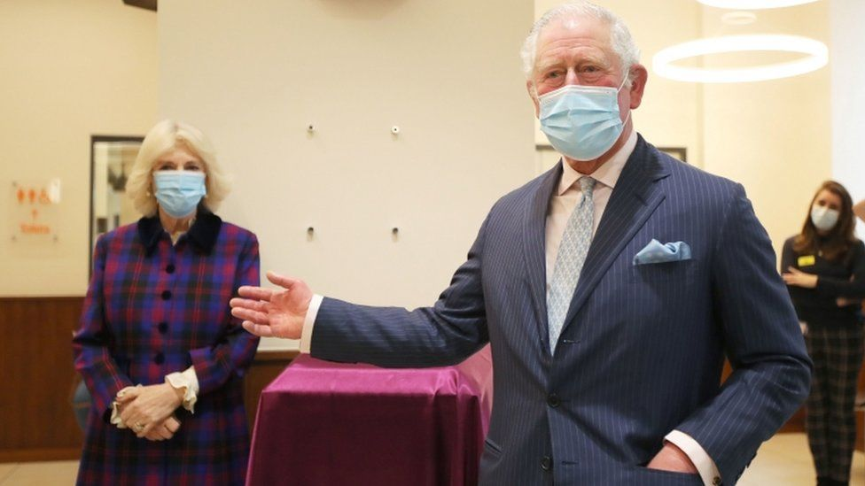 The Prince of Wales and Duchess of Cornwall during a visit to the Queen Elizabeth Hospital