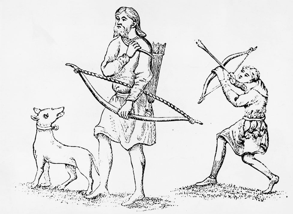 A depiction of Saxon bowmen hunting birds with bow and arrows, circa 1000.