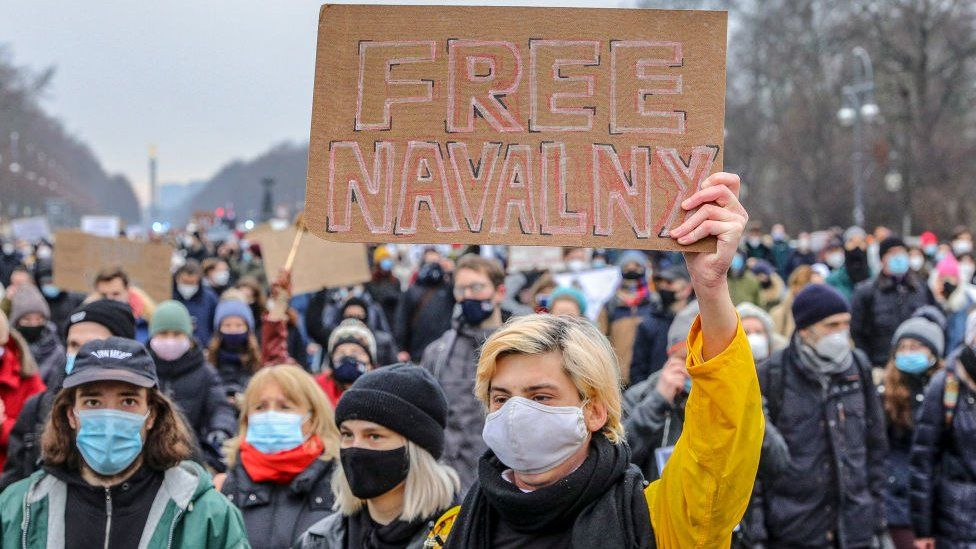 Some 2,500 supporters of Russian opposition politician Alexei Navalny march in protest to demand his release from prison in Moscow on 23 January 2021 in Berlin, Germany.