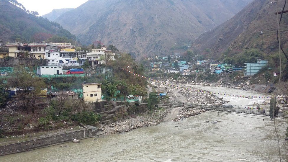 The Kali river that flows between India and Nepal.