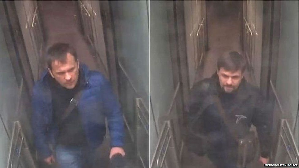 Police released CCTV showing the two suspects arriving at Gatwick Airport on 2 March