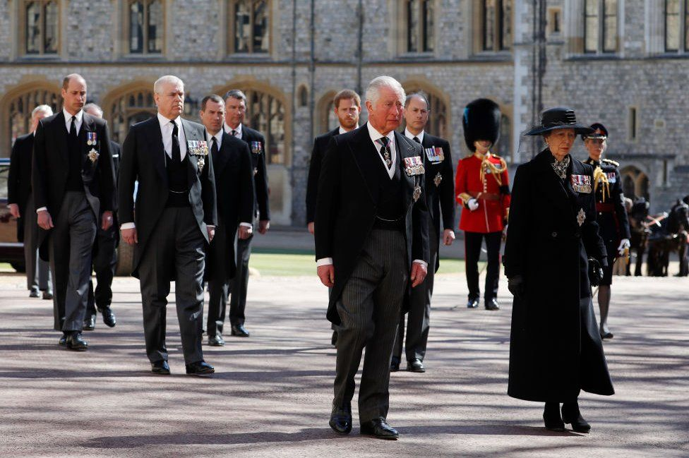 Princess Anne, Princess Royal, Prince Charles, Prince of Wales, Prince Andrew, Duke of York, Prince Edward, Earl of Wessex, Prince William, Duke of Cambridge, Peter Phillips, Prince Harry, Duke of Sussex, Earl of Snowdon David Armstrong-Jones and Vice-Admiral Sir Timothy Laurence follow Prince Philip, Duke of Edinburgh's coffin during the Ceremonial Procession during the funeral of Prince Philip, Duke of Edinburgh at Windsor Castle on April 17, 2021