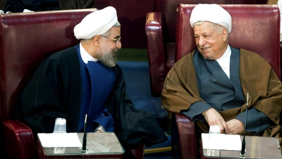 President Hassan Rouhani (L) and Ali Akbar Hashemi Rafsanjani