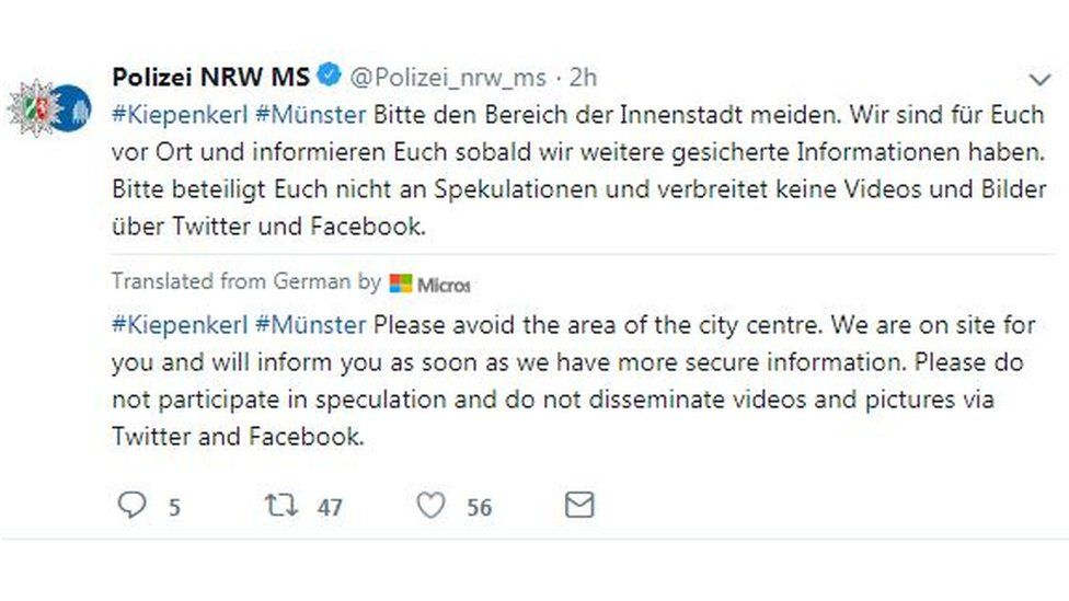 Local police repeatedly urged people on Saturday afternoon not to speculate about the nature of the incident and wait for official information. Photo: @Polizei_nrw_ms