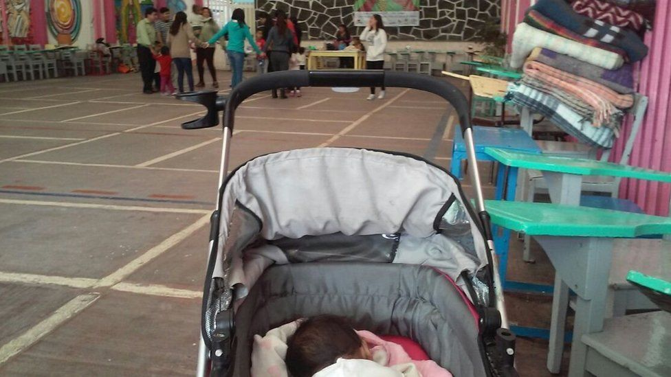 Baby Alison in her stroller at Cafemin in Mexico City
