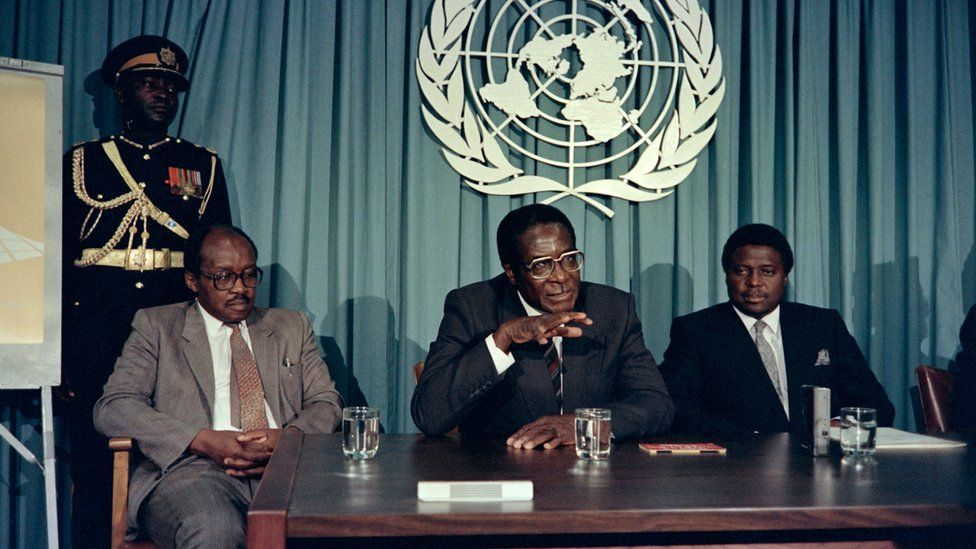 Mugabe speaking to the press in 1998 about African prize for leadership he would go on to recieve