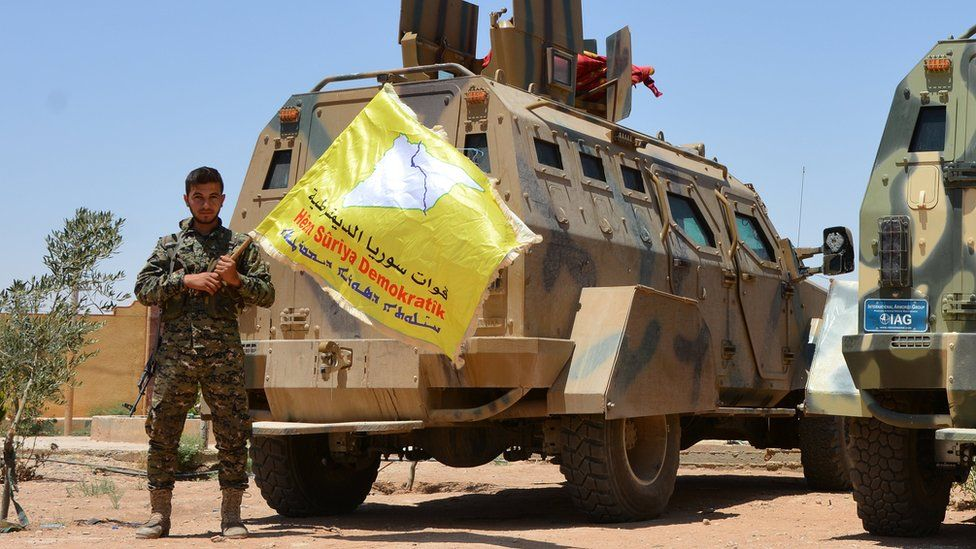 Syrian Democratic Forces (SDF) fighters in the village of Hazima, Syria (6 June 2017)