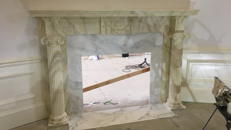 Fireplace in the Oval Office replica set at October Film Studios in Norfolk.