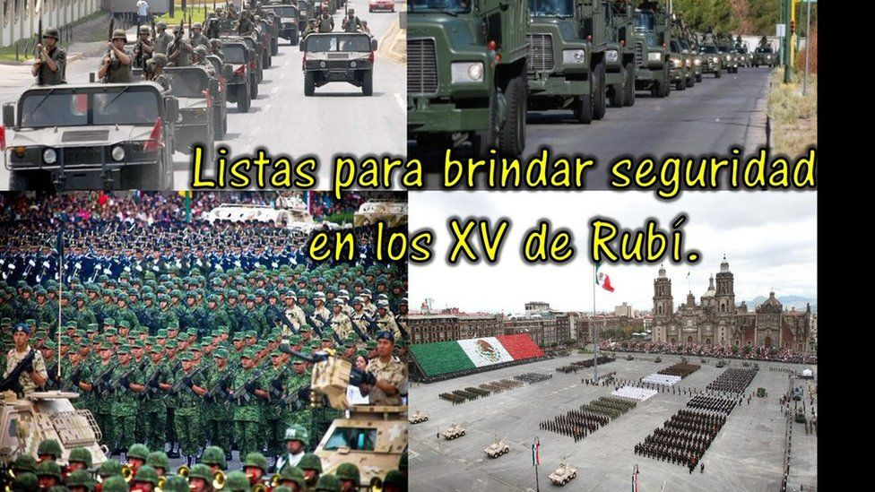 """A tweet showing a composite picture of military parades and the text reading: """"Armed forces ready to provide security for Rubi's 15th birthday party"""""""