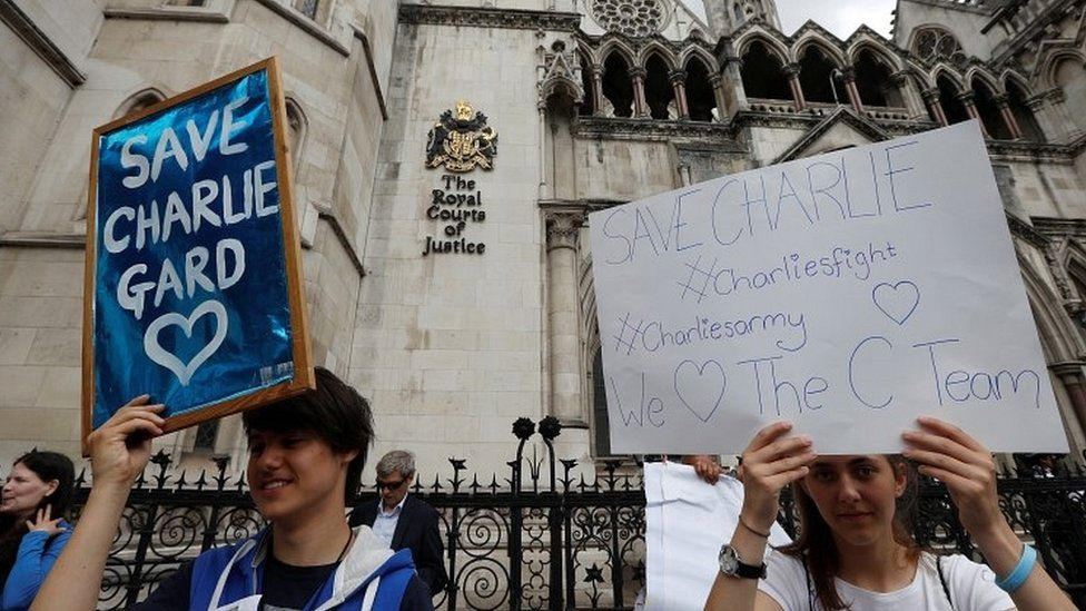 Campaigners outside court