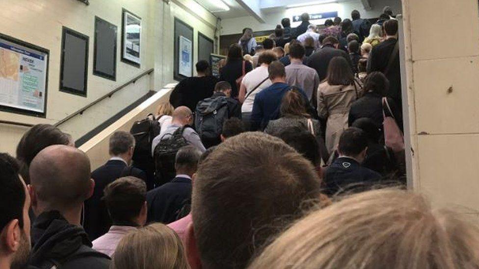 Queues inside Surbiton station