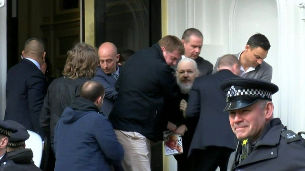 Met Police officers dragged Assange out of the Ecuadorian embassy in London, where he had stayed since 2012