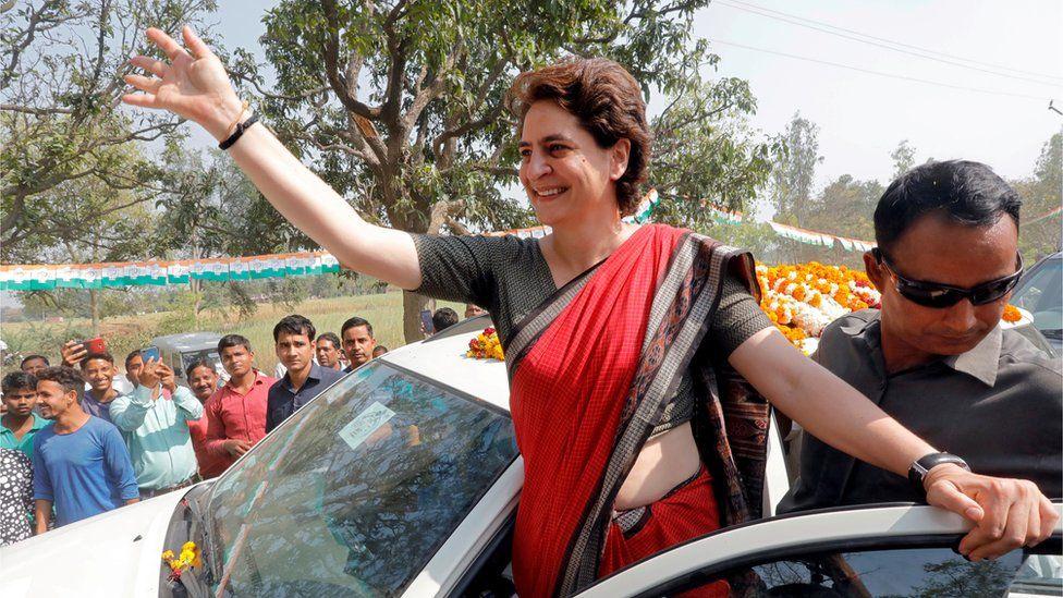 Priyanka Gandhi waving to crowds