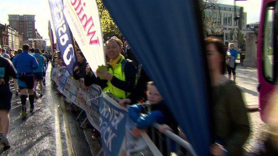 Those taking part were cheered off by spectators who gathered at the city hall