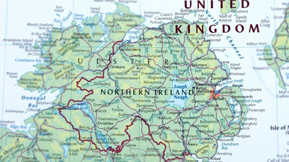 The Irish border marked with a red line