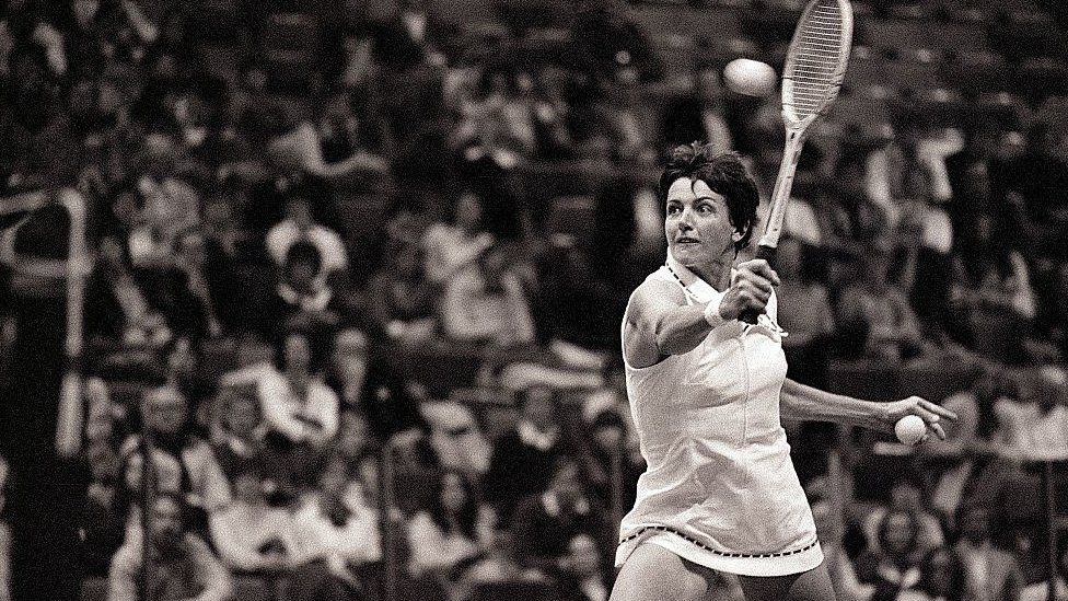 Margaret Court playing in the US in 1975