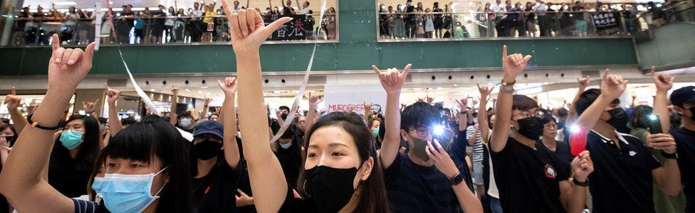 Anti-government protesters in a mall in Hong Kong in October