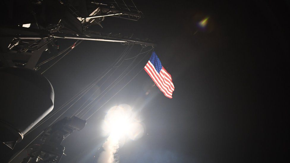 The guided-missile destroyer USS Porter fires a Tomahawk missile at Shayrat airbase in Syria on 7 April 2017