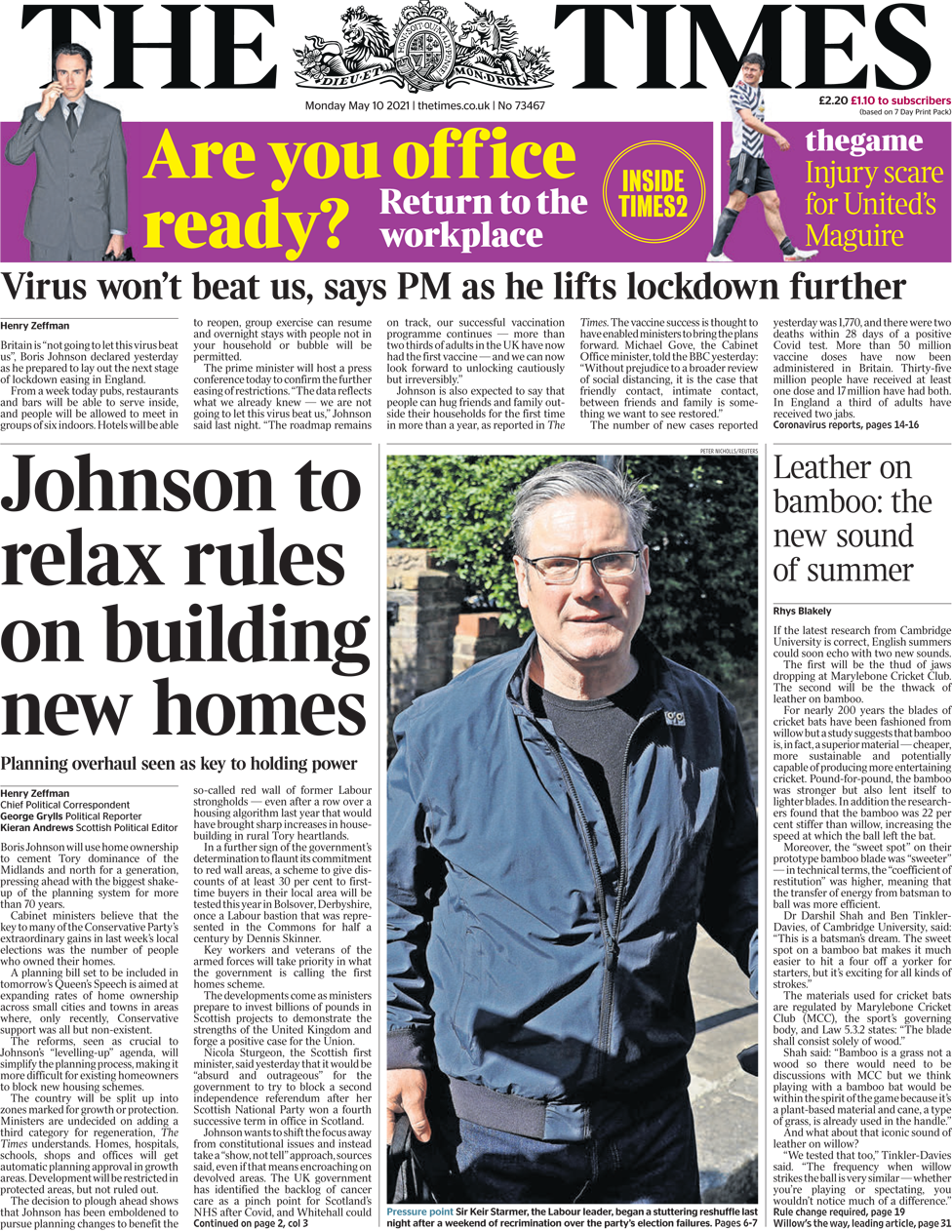 The Times front page 10 May 2021
