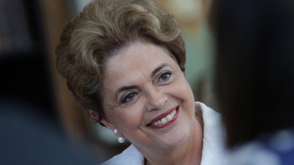 Suspended Brazilian President Dilma Rousseff smiles during a press conference with the international press corps, at the presidential residence Alvorada Palace in Brasilia, Brazil, Friday, May 13, 2016.