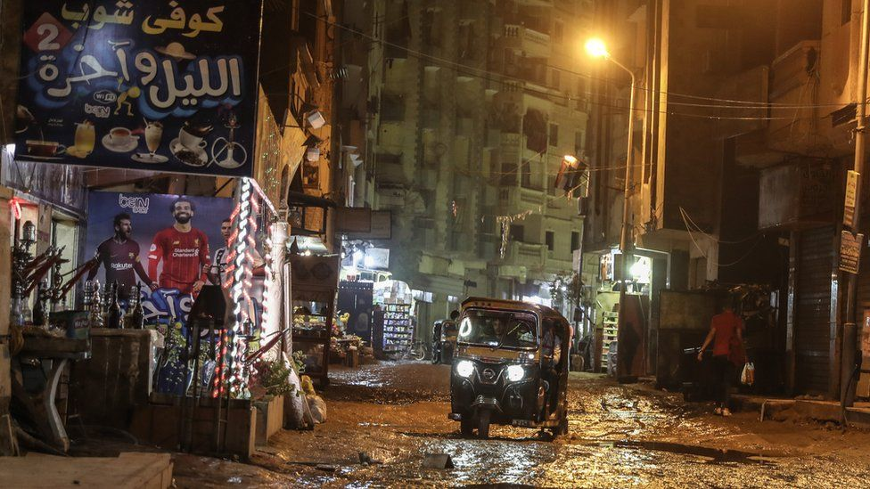 The streets of Faisal area after heavy rains today in the capital Cairo, Egypt on October 22, 2019. - Mostafa Madbouly, Egypts Prime Minister, announced that universities and schools are to be closed in some areas of Cairo, Giza and Qalyubia after reports of Egypts Meterological Authority stating non stop rains in the next days.