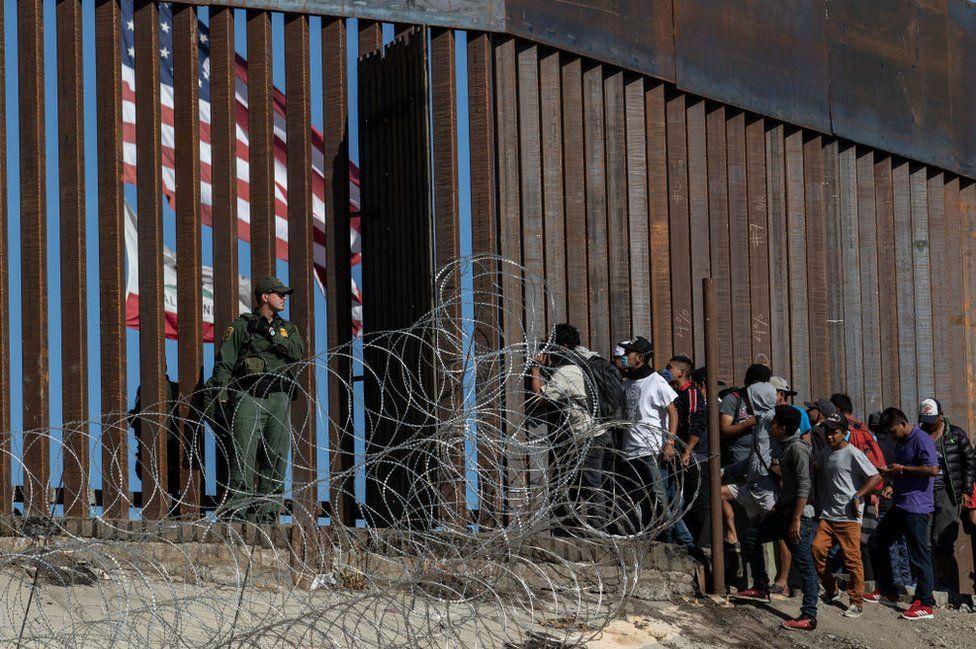A border patrol agent stands guard