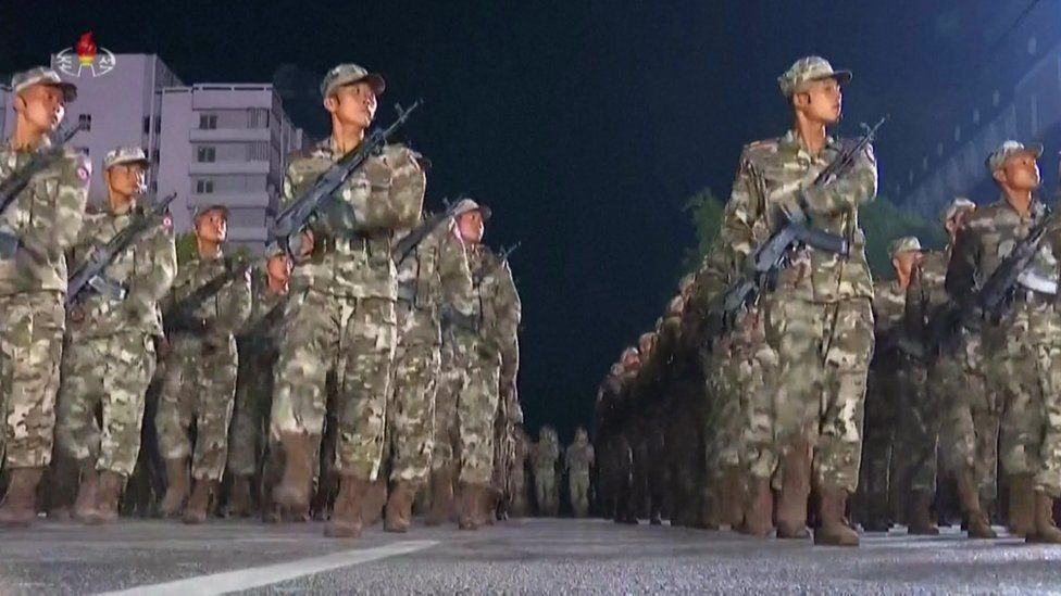 Soldiers march in Pyongyang
