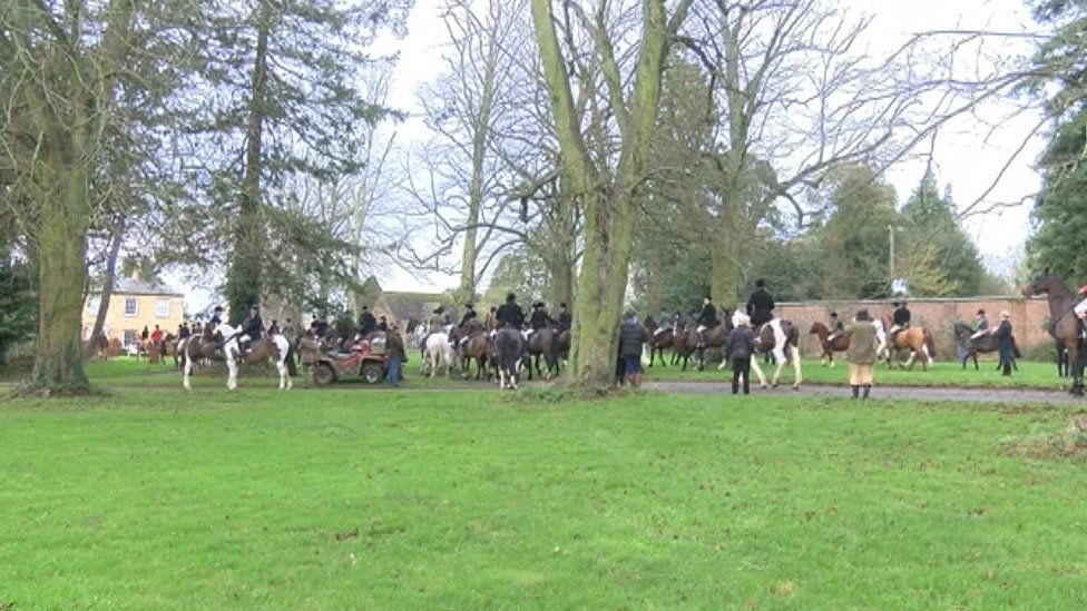 The Belvoir Hunt holding its annual gathering in Buckminster