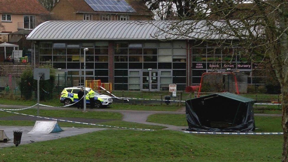 Police cordon in Lyngford Park