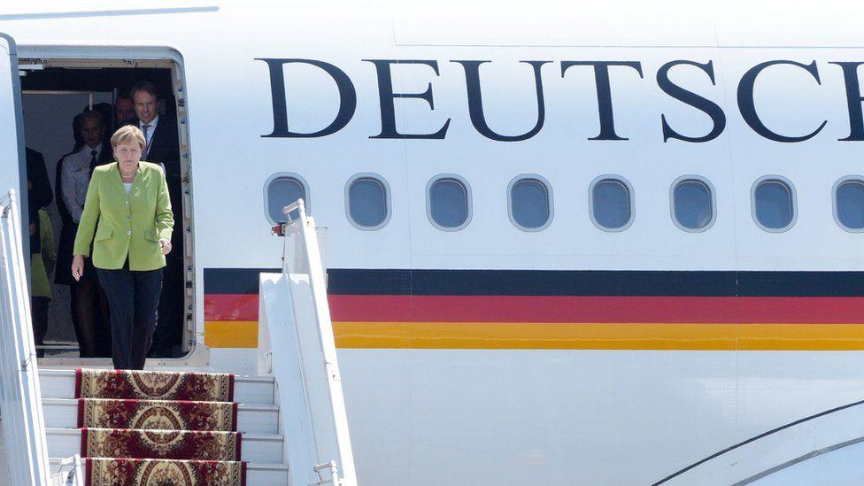 File image taken on August 24, 2018 Angela Merkel leaving her plane as she arrives in Yerevan
