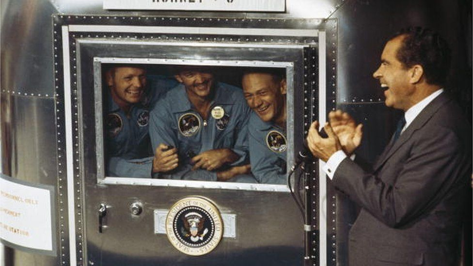 President Richard Nixon met with the Apollo 11 crew during their quarantine after returning to earth