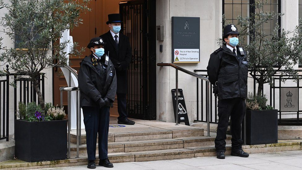 Police outside the King Edward VII hospital in London on Friday