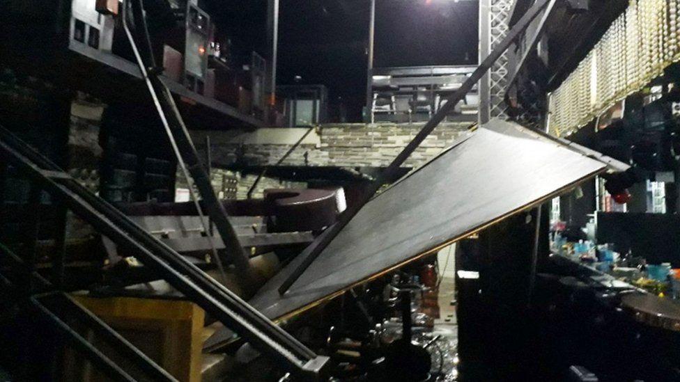 Collapsed balcony at Coyote Ugly nightclub, Gwangju, South Korea 27 July 2019