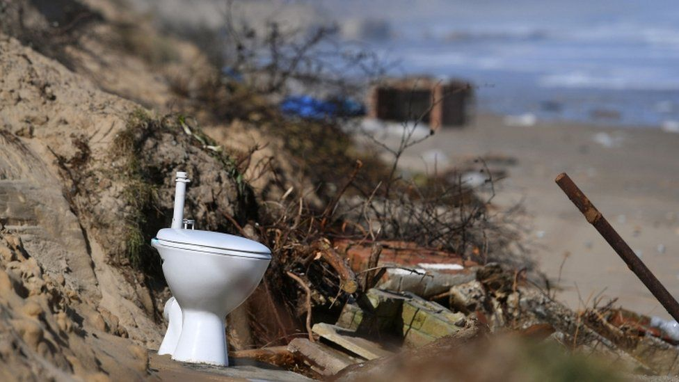 Toilet on beach