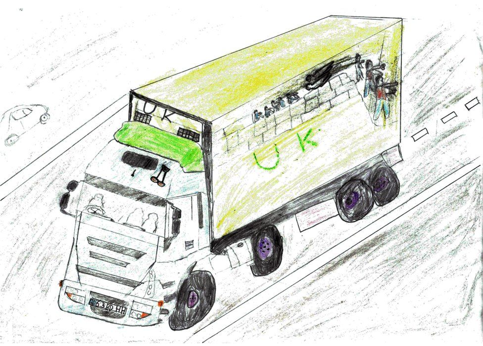 Ahmad has drawn a picture of the lorry that brought him to England