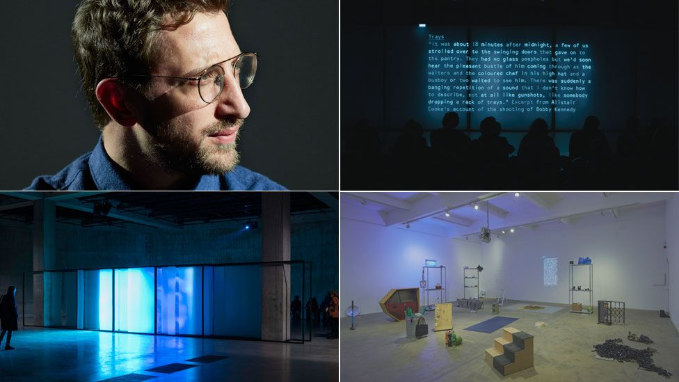 Clockwise from top left Lawrence Abu Hamdan (Miro Kuzmanovic), After SFX 2018 in The Tank at Tate Modern, Earwitness Inventory 2018 at Chisenhale, Walled Unwalled 2018 in the Tank at Tate Modern