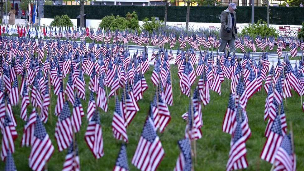 The flag garden at the Massachusetts Fallen Heroes Memorial in Boston, Massachusetts, 25 May 2020