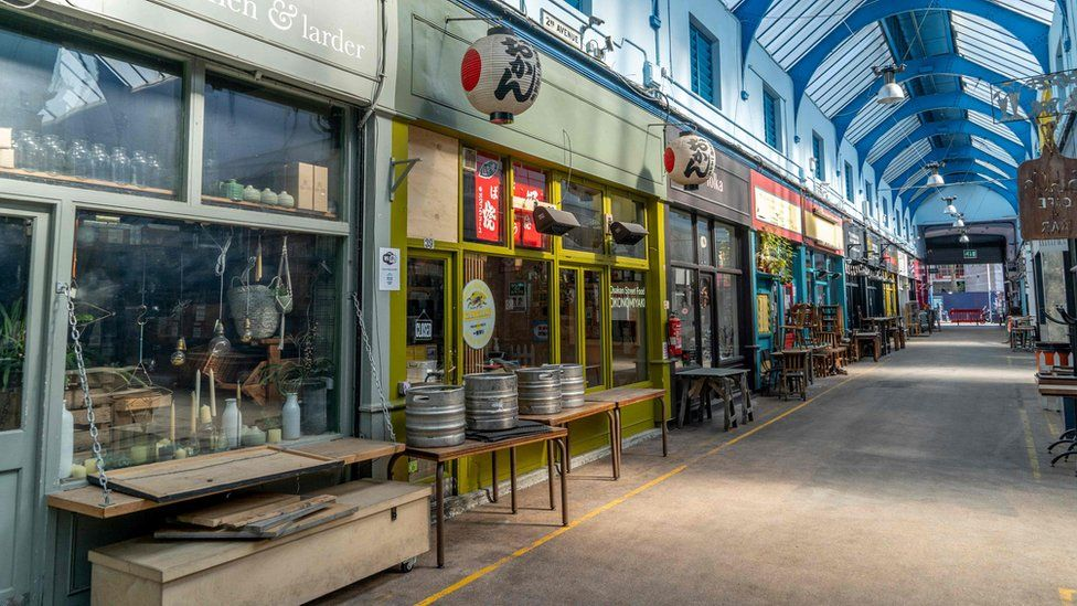 Cafes and shops closed in Brixton market