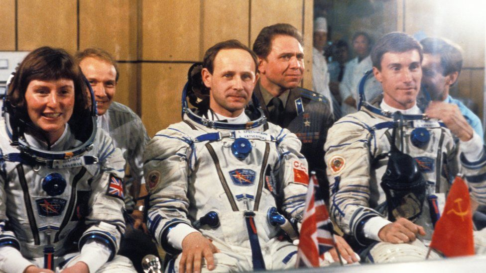 Helen Sharman, Anatoly Artsebarsky, and Sergei Krikalev prior to launch, 1991.