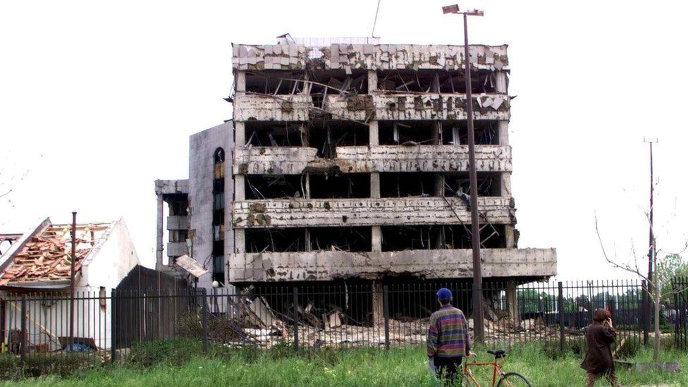 The destroyed side of the Chinese embassy in Belgrade