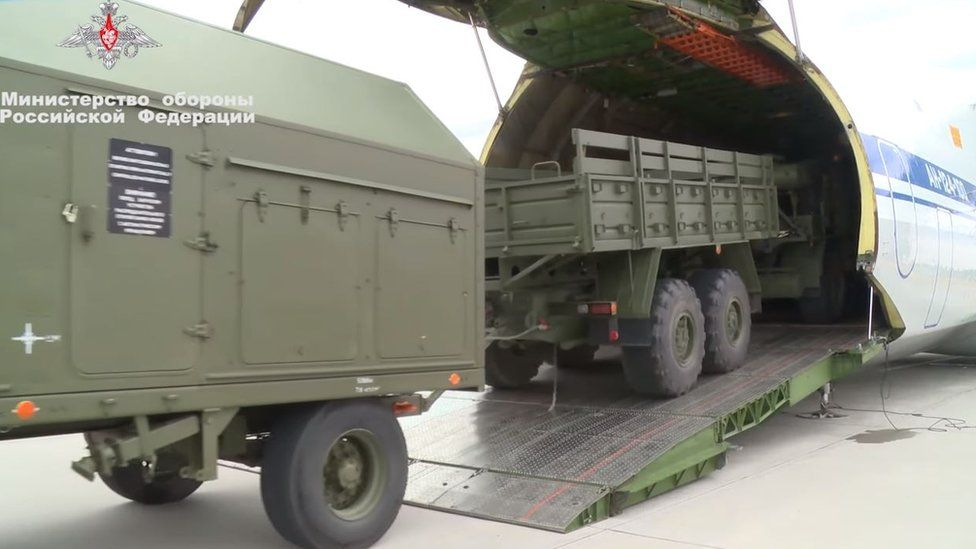 Footage supplied by the Russian defence ministry of first components of the system being delivered to Turkey